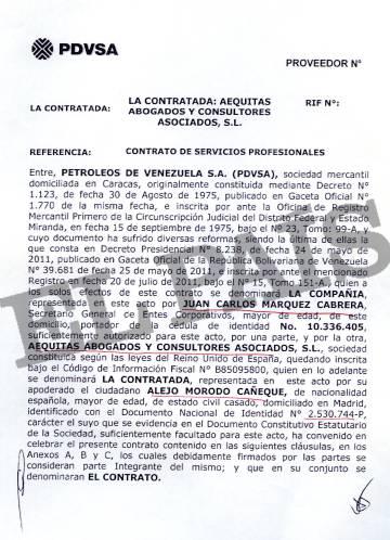 Uno de los contratos firmados entre Márquez Cabrera y Alejo Morodo.