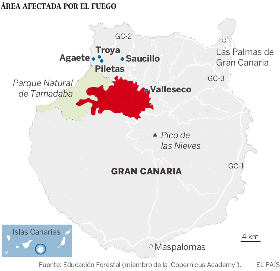 El incendio de Gran Canaria avanza sin control y obliga a evacuar a 9.000 personas