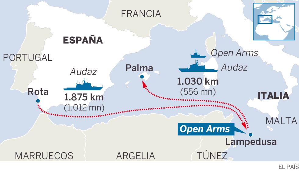 El 'Open Arms' desembarca en la isla de Lampedusa tras la orden del fiscal italiano