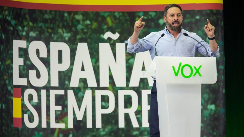 Santiago Abascal, durante un mitin en Murcia en la pasada campaña electoral.