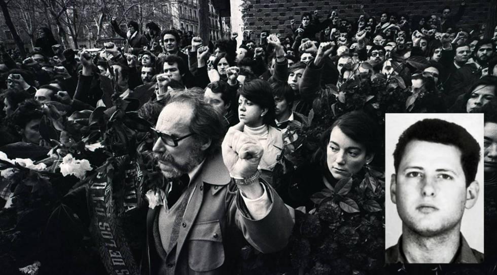 Marcha tras la matanza de los abogados de Atocha en 1977. García Juliá, en miniatura.
