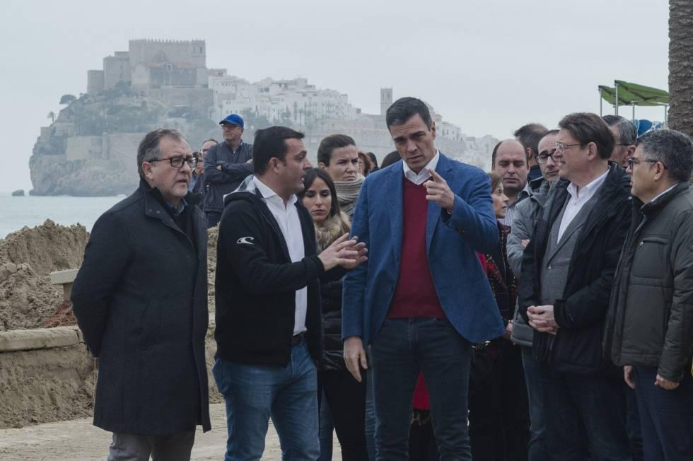 El presidente Pedro Sánchez visita zonas afectadas por la borrasca Gloria en Castellón.