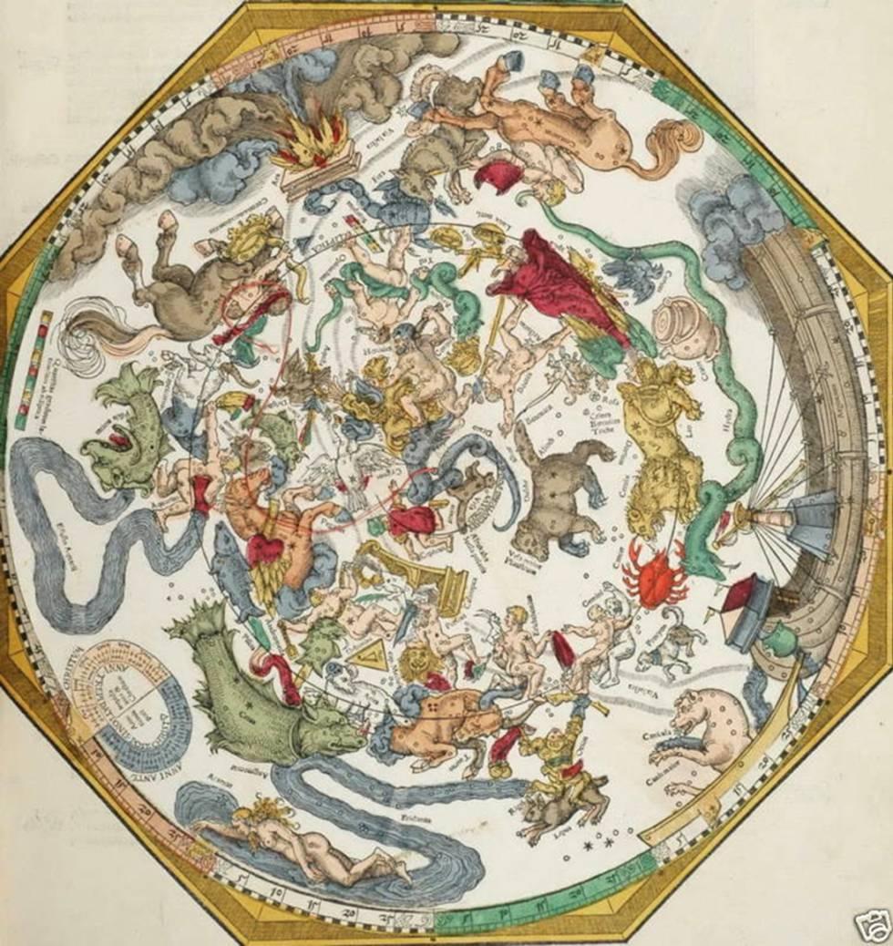 Representación idealizada de 'La esfera de las estrellas fijas', de Petrus Apianus (1540).