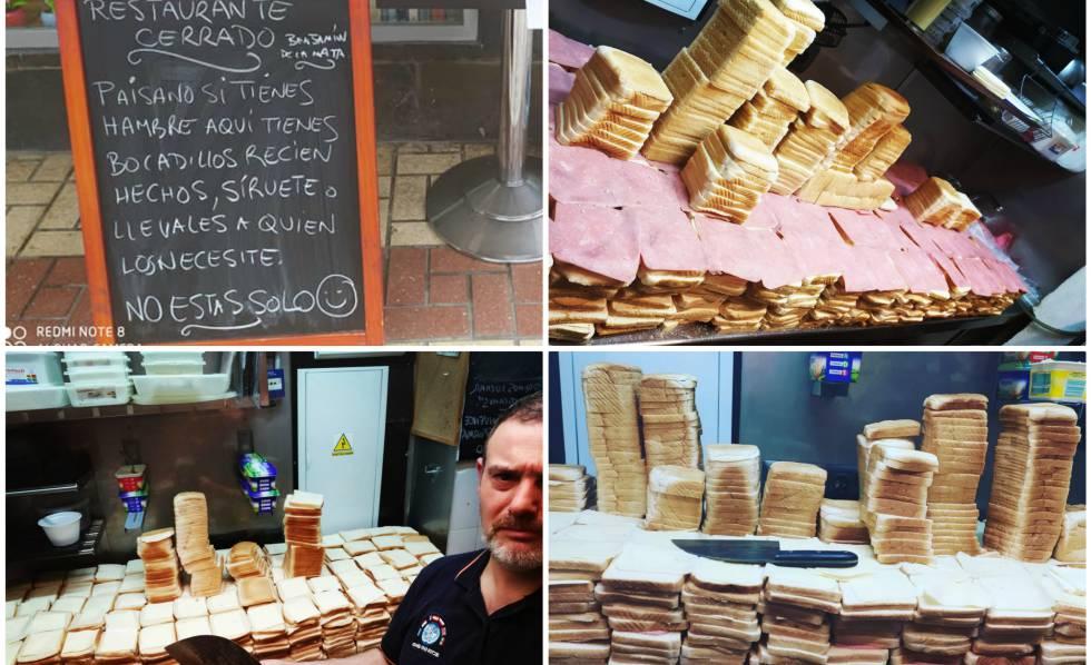 Arriba a la izquierda, cartel frente al establecimiento de Málaga que regala sándwiches. Debajo, Benjamín de la Mata, el propietario.