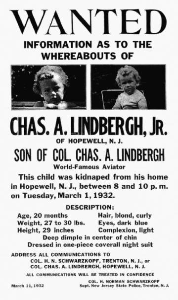 Cartel de búsqueda del pequeño Charles Lindbergh.