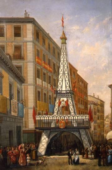 Pintura de la 'torre Eiffel' de la calle Ave María en 1889.