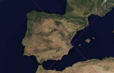 Mapa Satelital De España.El Satelite Ha Entrado En La Atmosfera Sobre El Pacifico