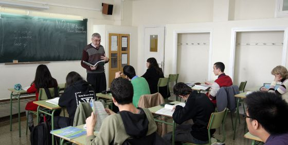 Una clase de bachillerato en el instituto Ausias March de Barcelona.
