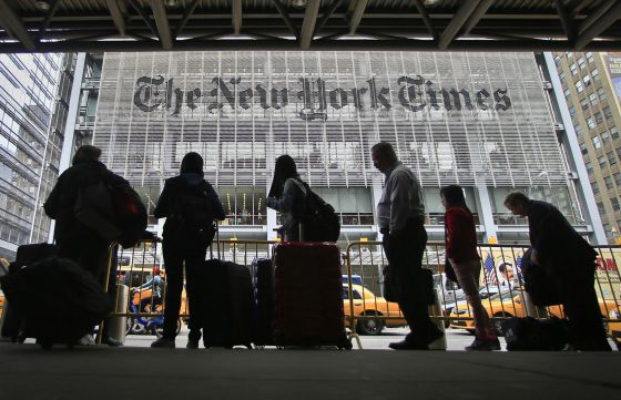 Fachada da sede central do 'The New York Times'.