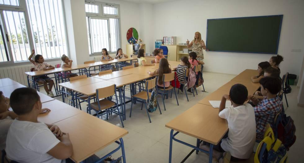 Alumnos del colegio La Unión, en la localidad sevillana de La Rinconada.