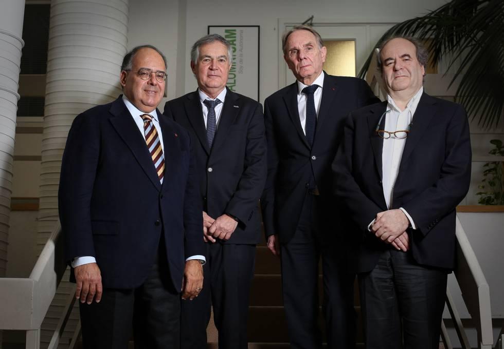 Desde la izquierda los rectores Eugenio Gaudio (Sapienza), Rafael Gresse, rector (Autonoma de Madrid), Yvon Berland (Aix-Marseilla), y Yvon Englert, (Libre de Bruselas).