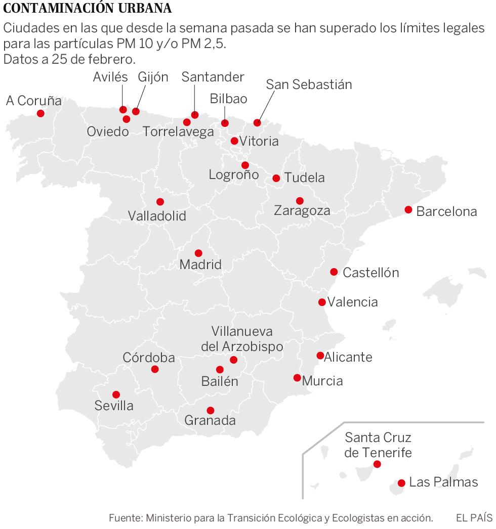 0fcc156571fdd La contaminación se dispara en 26 ciudades por el anticiclón y la falta de  medidas