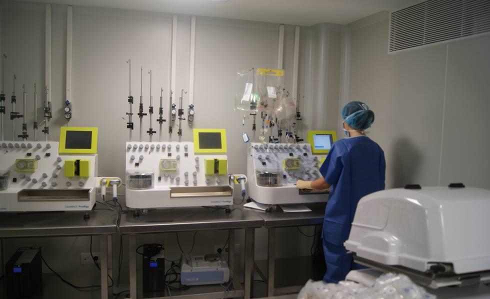 Laboratorio del Clínic de Barcelona donde se preparan las células CAR-T.
