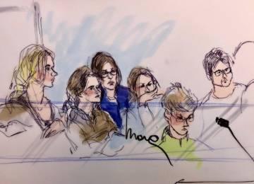 Algunos de los acusados, durante su comparecencia en un juzgado de Los Ángeles el martes.