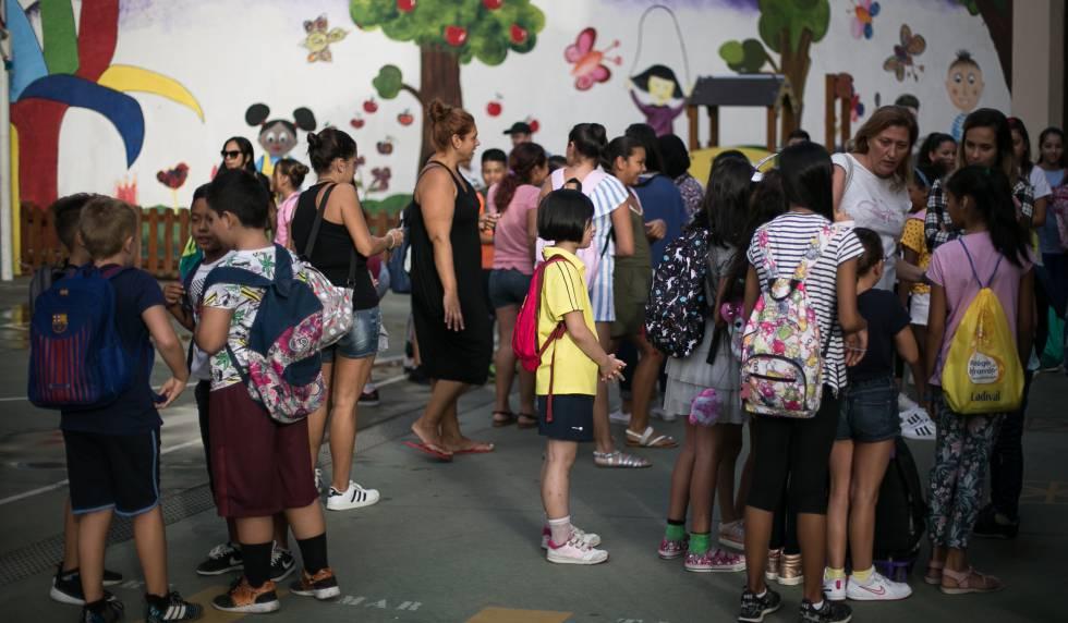 Alumnos de un colegio público de Barcelona.