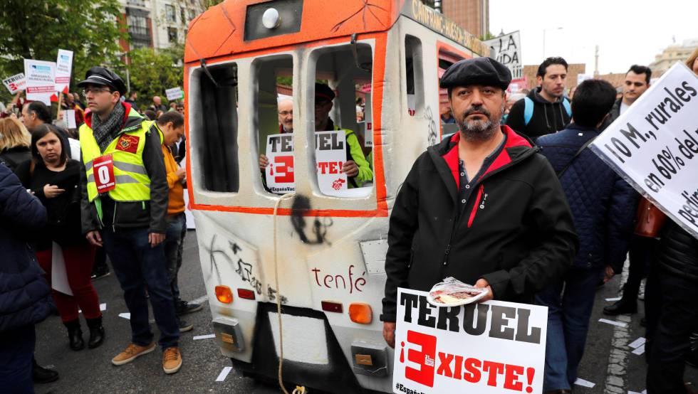 Participantes en la manifestación este domingo, en Madrid.