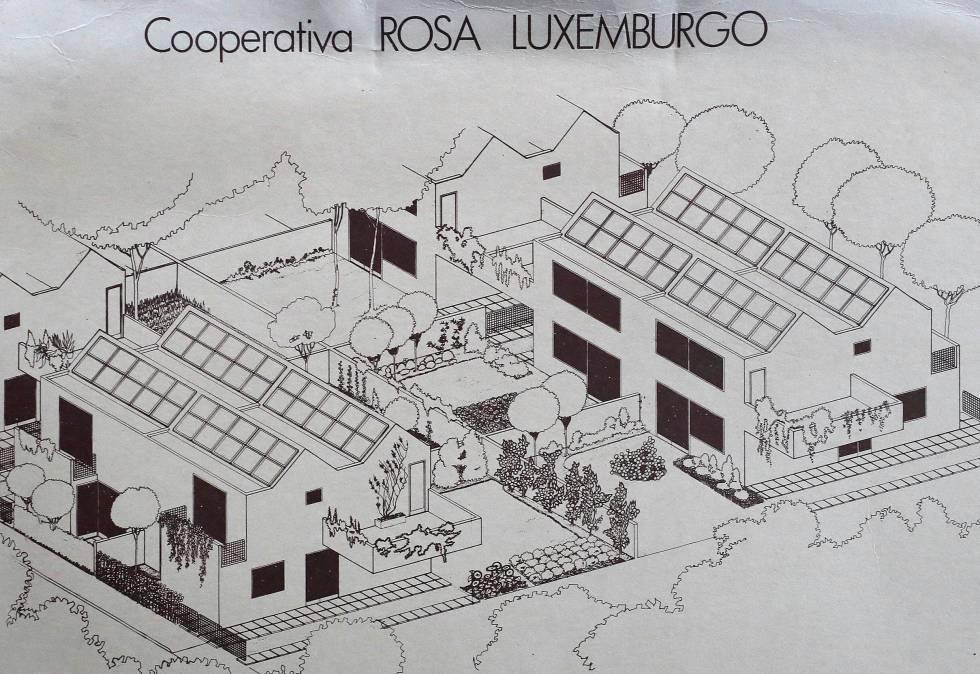 Un dibujo de la urbanización Rosa Luxemburgo de finales de los setenta en el que se aprecia la planificación de placas solares en los tejados.