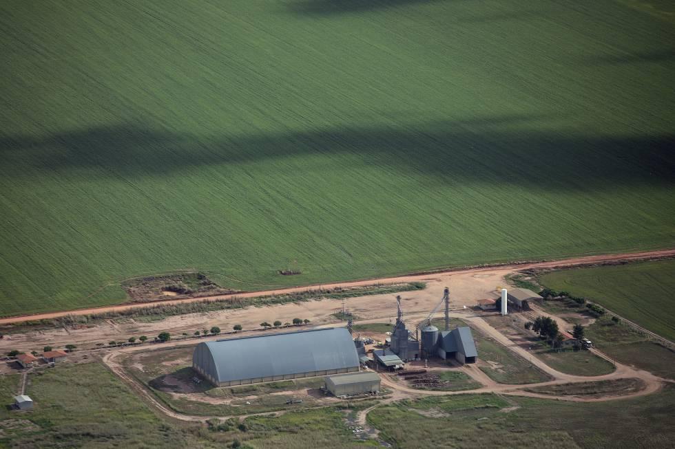 Un silo de la empresa Cargill en el latifundio Estrondo, cerca de Barreiras (Bahía, Brasil) en mayo.