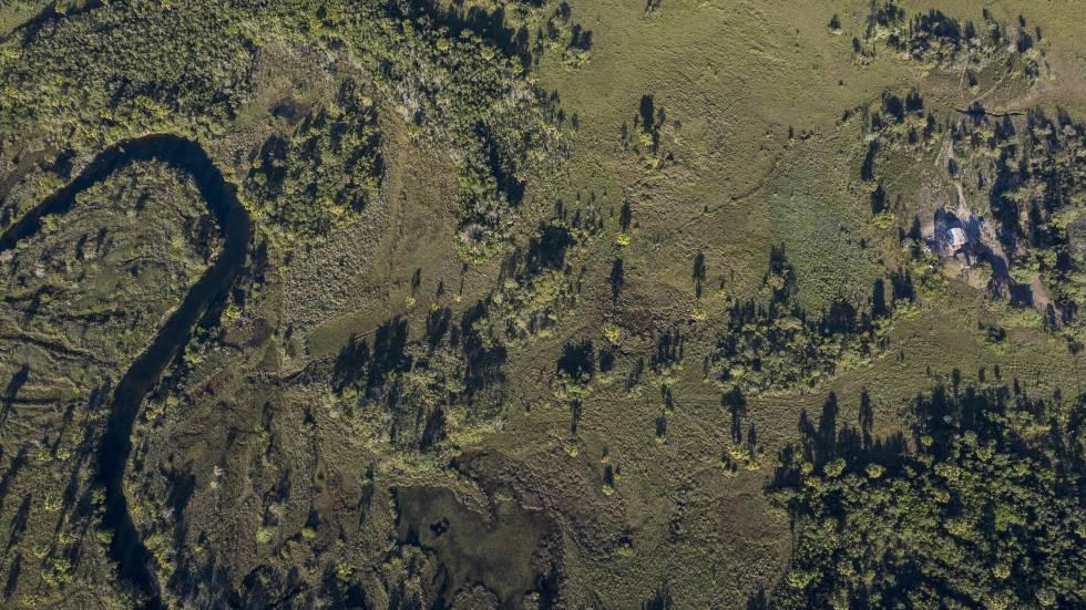 Imagen de dron de una comunidad afectada por el latifundio Estrondo en el interior del estado brasileño de Bahía este mayo.