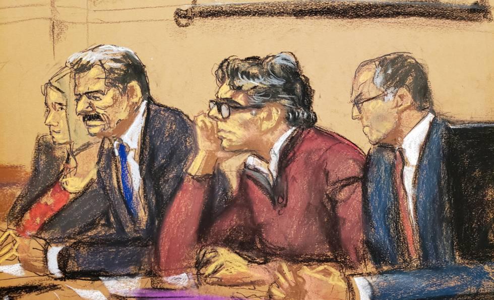 Boceto de Keith Raniere durante los alegatos finales.