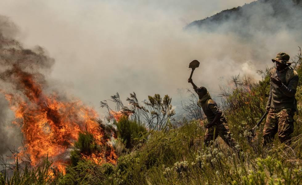Soldados del ejército keniano luchan contra un fuego este marzo.