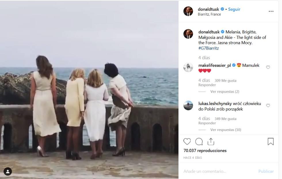 """El comentario de Donald Tusk en Instagram sobre cuatro primeras damas: """"El lado ligero de la Fuerza""""."""