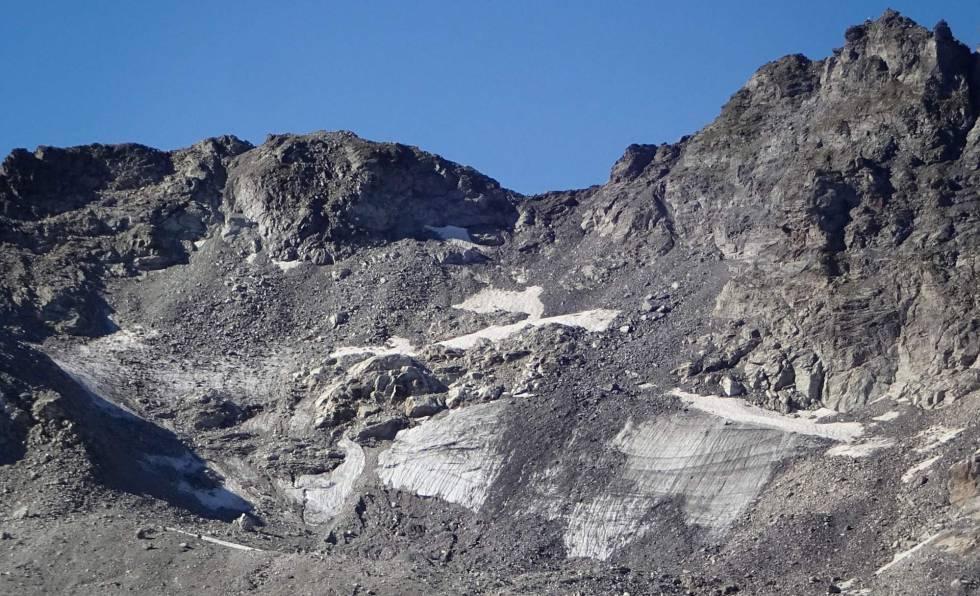 Desaparición del glaciar Pizol, en los Alpes suizos, como consecuencia del calentamiento global.