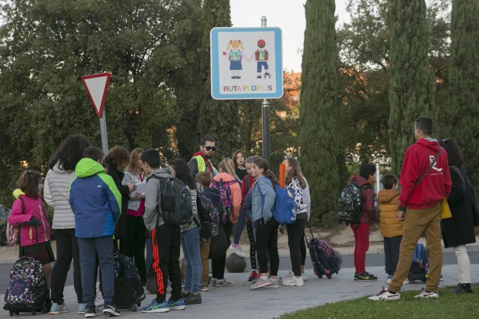 Escolares se reúnen en la parada del Pedibús de Torrelodones (Madrid)