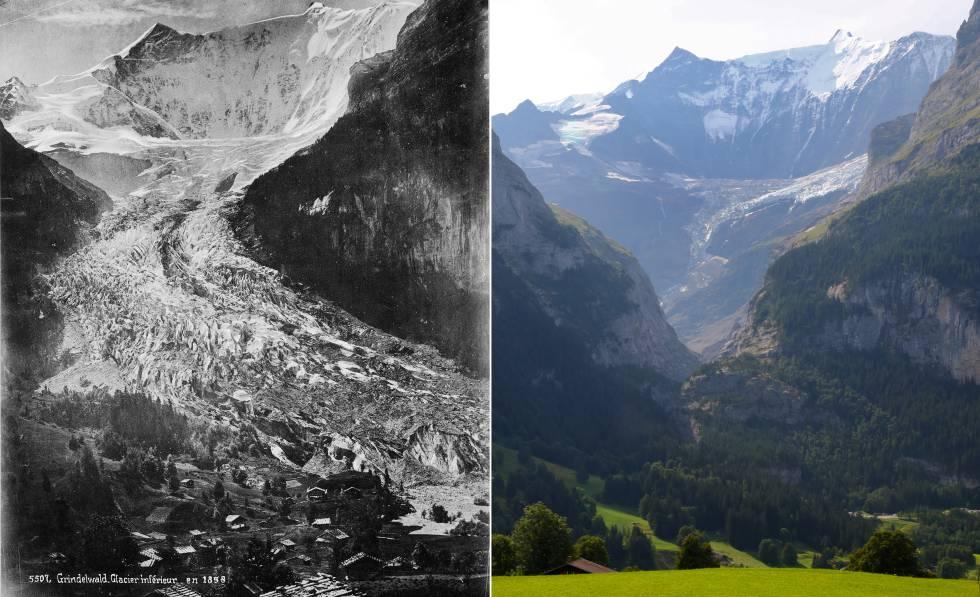 El glaciar Lower Grindelwald, en los Alpes suizos, en 1865 y en 2019.