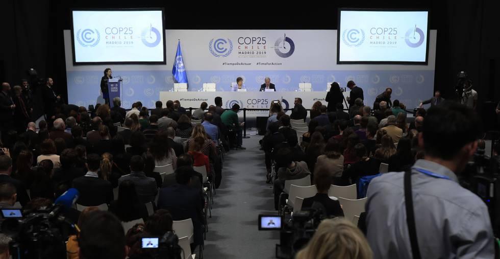El secretario general de la ONU, António Guterres, y la responsable de cambio climático de la ONU, Patricia Espinosa, este domingo en la COP25.