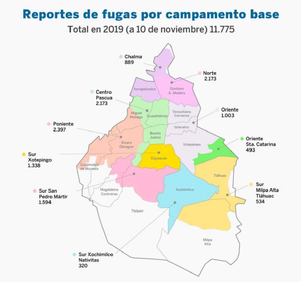 Mapa de fugas de Ciudad de México.
