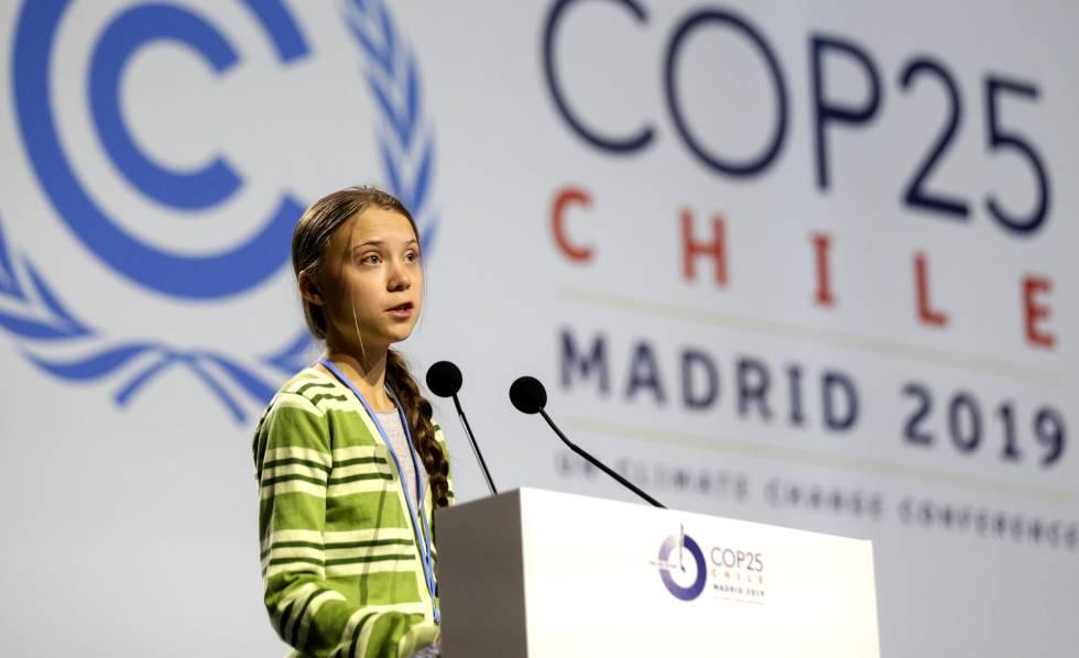Greta Thunberg pronuncia su discurso ante el plenario de la Cumbre del Clima, este miércoles.
