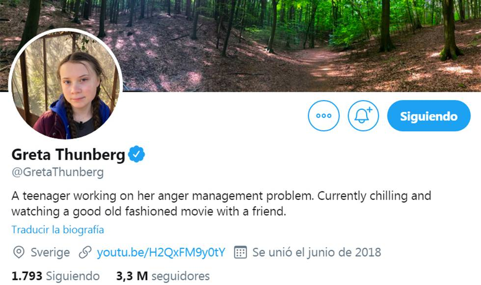Greta Thunberg has changed his Twitter biography with Trump's words.