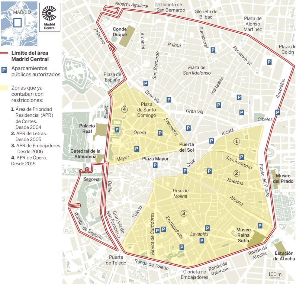 The Madrid Central low emission zone, which became operational at the end of 2018.