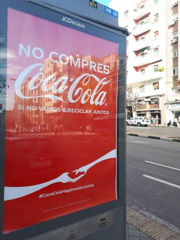 Coca-Cola advertising during the summit in Madrid.