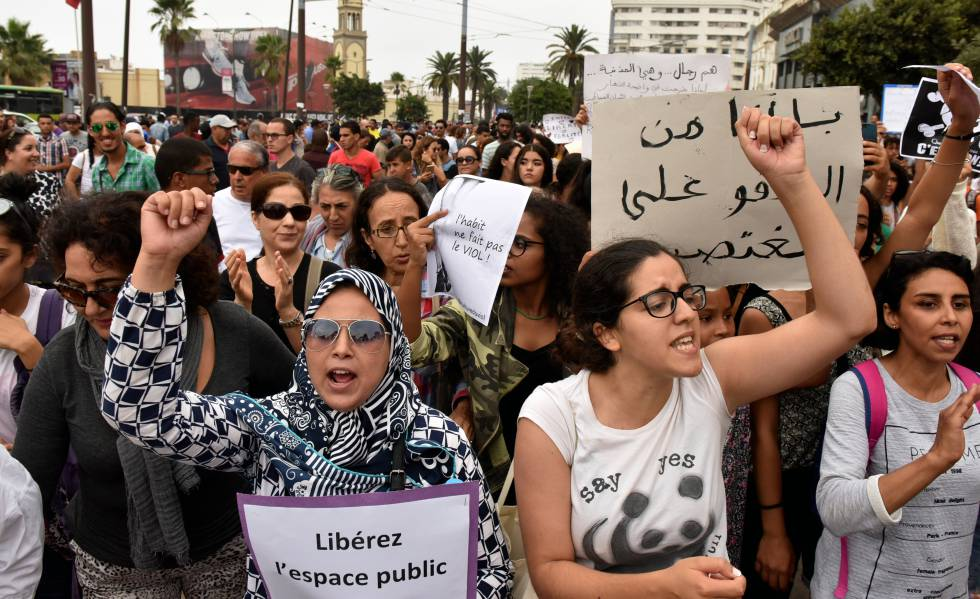 Protesta contra las agresiones sexuales, en Casablanca en 2017.