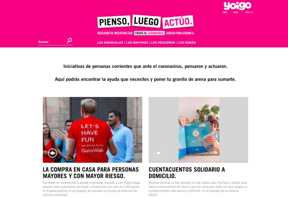 Algunas de las iniciativas presentes en www.piensoluegoactuo.com.