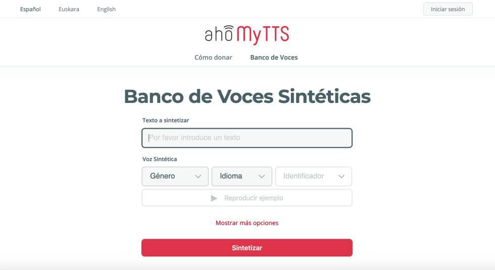 Captura de pantalla del banco de voces sintéticas del proyecto AhoMyTTS.