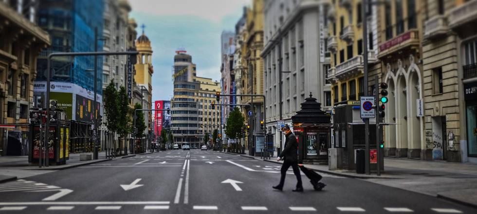 Madrid vacio por el confinamiento por el coronavirus.