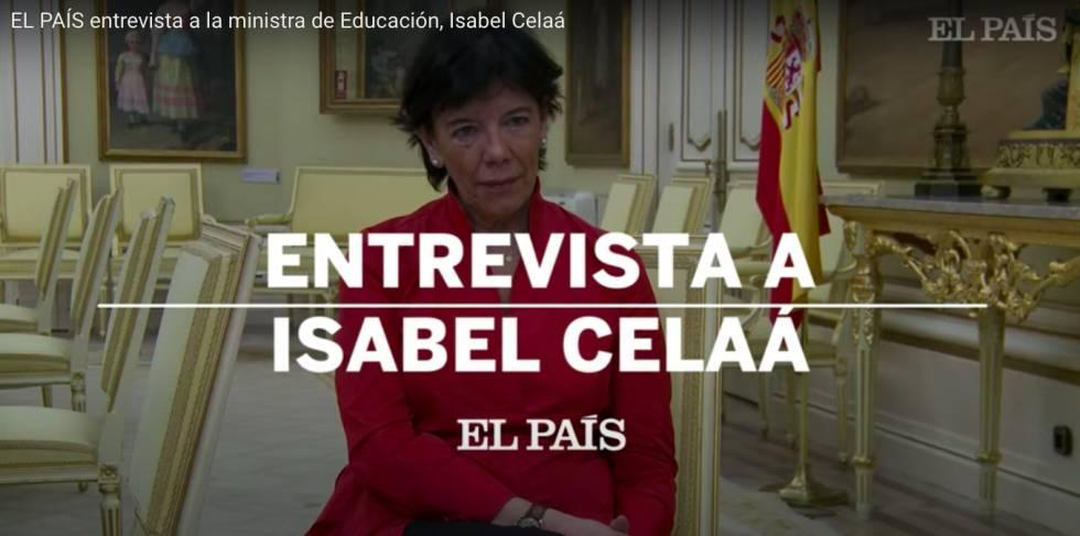 La ministra Isabel Celaá durante su entrevista con el diario EL PAÍS.