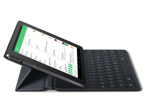 La tableta Nexus 9 con teclado.