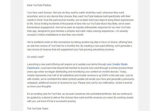 YouTube ofrecerá sin publicidad todos sus vídeos a finales de 2015
