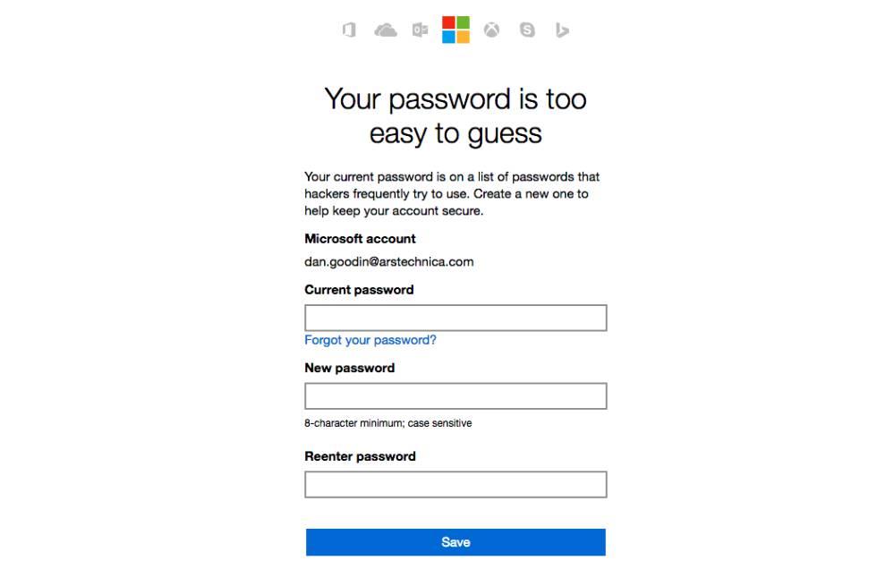 Contraseñas de Microsoft