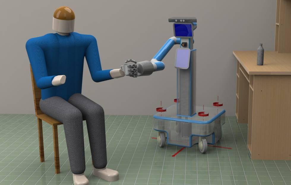 Ilustración del robot europeo de asistencia RAMCIP.