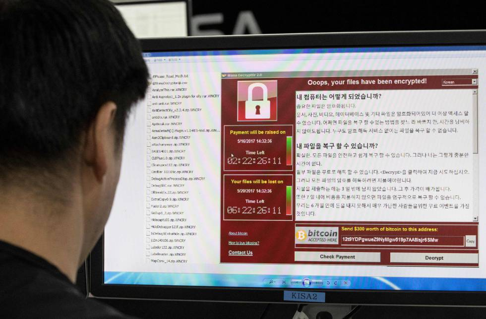 Imagen del 'ransomware' en un ordenador en la Korea Internet and Security Agency (KISA) en Seúl.