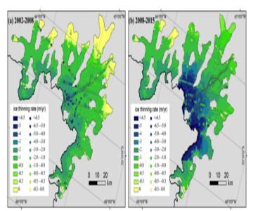 Tasa de adelgazamiento de la región del glaciar Fleming entre (a) 2002-2008 y (b) 2008-2015.