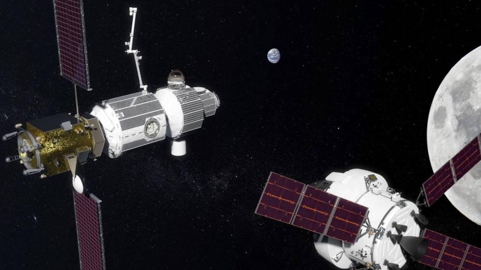 Impresión artística de una cápsula Orión acercándose a la Deep Space Gateway.