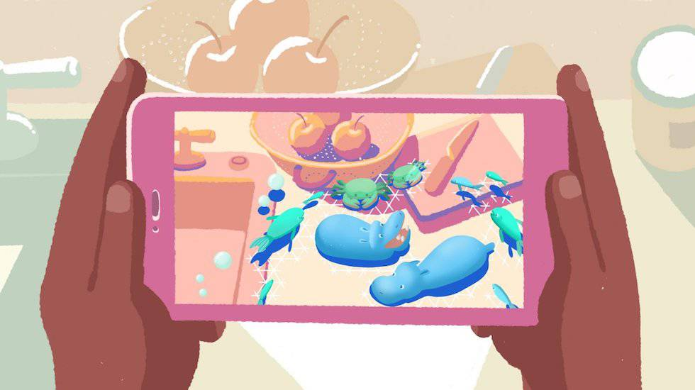 Ilustración de un usuario empleando la tecnología de realidad aumentada en su 'smartphone'.