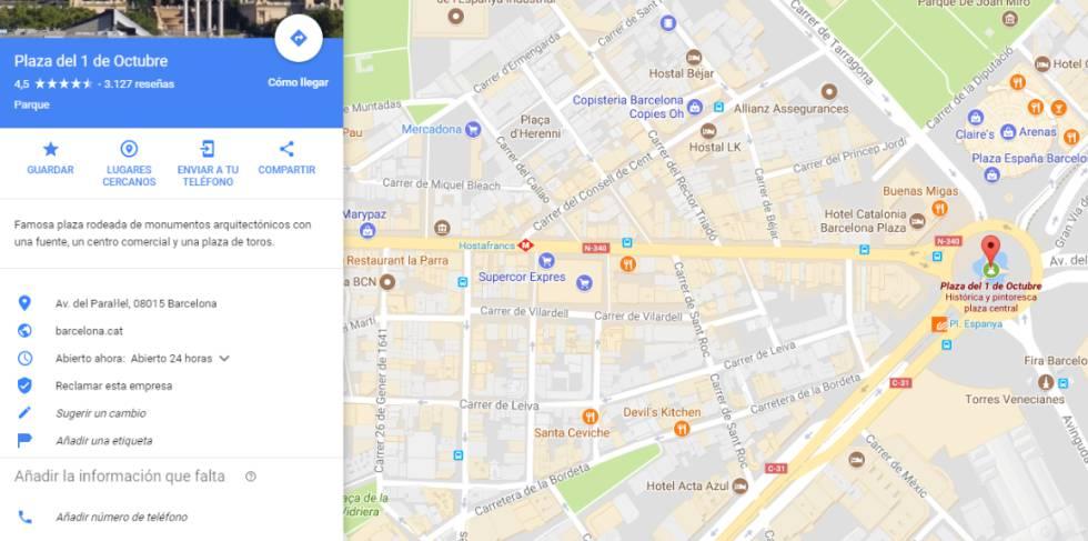 La Plaza de España de Barcelona aparece en Google Maps como Plaza ...