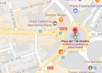 la plaza de espaa de barcelona aparece en google maps como plaza del 1 de octubre